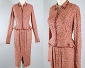 Vintage 40s CEIL CHAPMAN Dress Set / 1940s SEQUINS Peplum Top Wiggle Draped Pencil Skirt Brown Crepe Cocktail Party Dress Suit Xs S Small