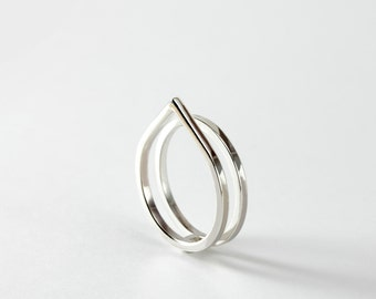 Paired - silver double ring - minimalist sterling silver pointy double ring
