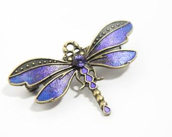Purple dragonfly brooch, art nouveau jewellery, gold dragonfly, handpainted jewellery, victorian brooch, purple crystal, steampunk brooch