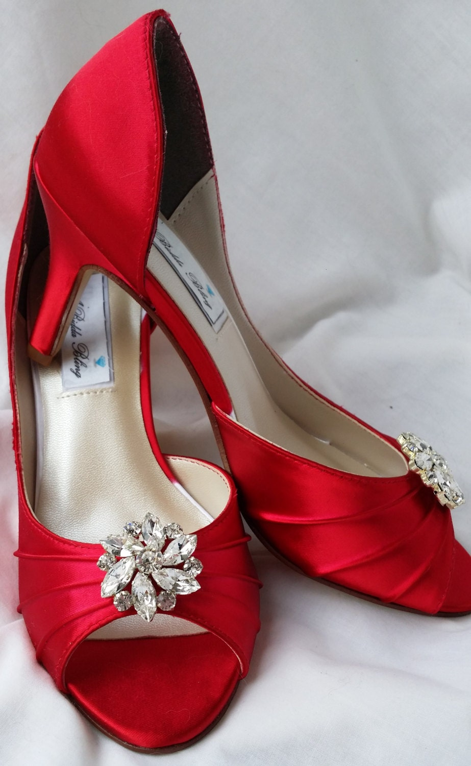 Wedding Shoes Red Bridal Shoes Crystal Rhinestone Flower Shoes