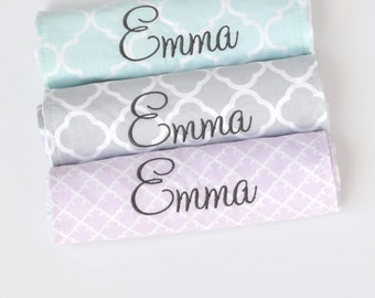 Personalized Baby Gift. Personalized Baby Burp Cloth Set. Monogrammed Baby Girl Gift. Minky Baby Gift. Baby Shower Gift. Lavender Gray Aqua