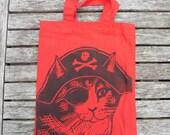 Pirate Cat Bag Hand Printed Mini Tote Shopping Bag Children Steampunk