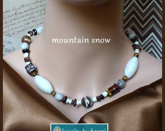 Chunky Brown Gemstone Statement Necklace, Her Brown Necklace, Her Quartz Necklace, Kashmiri Beaded Necklace, Tigereye Agate Necklace