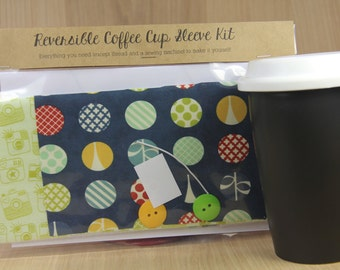 DIY Coffee Cup Sleeve Sewing Kit - Navy Circles and Green Cameras - Ready to Ship