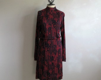 Vintage 1980s Adrienne Lemaux Dress Black Burgundy Feather High Collar Secretary Jersey Dress 6US