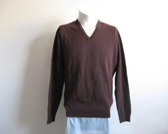 Vintage 1970s Pullover Sweater Dark Brown Long Sleeve V-Neck Knit Jumper Large
