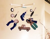 "Baby Crib Mobile - Baby Mobile - Baby Boy Decorate Nursery Mobile - ""Mechanics Tools and Trucks"" mobile (Pick your color)"