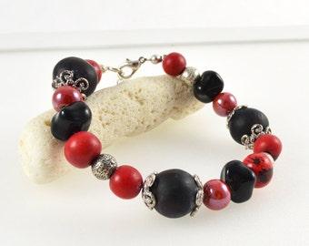 Crimson Red Bracelet, Tagua Nut Jewellery, Red Australian jewellery, Red Bead Bracelet, Australian Bracelet, OOAK Bracelet, FREE SHIPPING