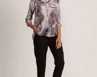 Semi sheer collar blouse, tropical gray print, collar winter top, sale, loose fit shirt, 3/4 sleeve, buttoned collar blouse, jungle print