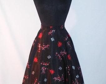 Vintage floral circle skirt/ 1950s inspired skirt
