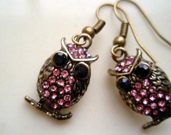 Pink Owl Earrings, Brass Owl Earrings, Black Eye Owl Earrings, Pink and Brass Earrings