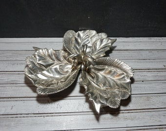 Silver Christmas Holly Three Section Tray