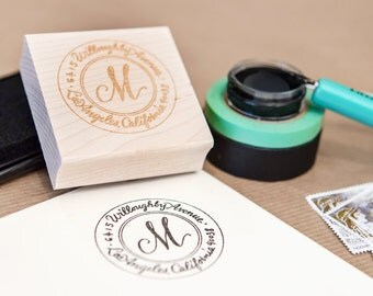Round Monogram Calligraphy Address Stamp – Custom Made