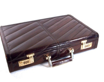 Genuine Eel Skin, Olympic Combination Lock, 1970s 80s Brown Leather Brief Case, Attache Case, Retro Laptop Computer Bag