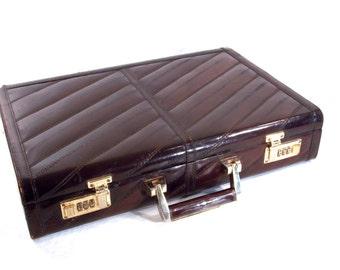 Genuine Eel Skin, Olympic Combination Lock, 1970s 80s Brown Leather Brief Case, Attache Case, Retro Laptop Computer Bag