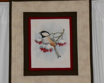 CHICKADEE WINTER WALLHANGING Worked in CrossStitch and Quilting Measuring 15 x 17 Holiday Decor.  Quiltsy Handmade