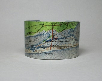 Gulf Shores Alabama Cuff Bracelet Alligator Island Unique Gift for Him or Her