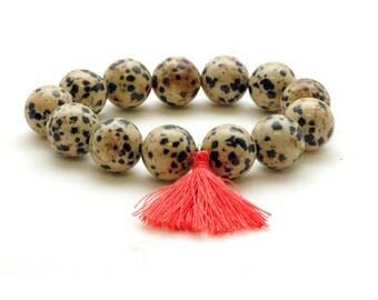 Dalmatian Jasper Bracelet, Mala Bracelet, Tassel Boho Bracelet, Stacking Bracelet, Yoga Jewelry, Meditation Bracelet, Gemstone Mala Bracelet