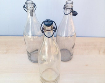 Antique Glass Bottle with Stopper, Vintage Water Bottle, Shabby Chic Home Decor, Clear Glass