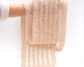 Knitted Lace Mohair Scarf Beige Peach