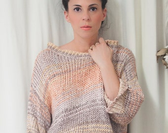 best sweater top ever, peach, violet, beige and pink, size large