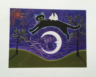 Black Cat with wings over Moon with Purple sky Whimsical folk art print Starlu