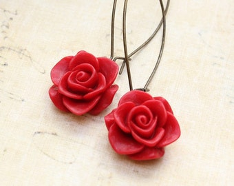 Red Rose Earrings Long Dangle Earrings Resin Flower Earrings Victorian Romantic Floral Accessories Rose Garden Wedding Bridesmaids Earrings