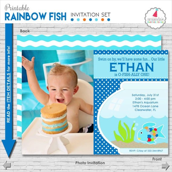 Pool Party Invitation | Rainbow Fish Birthday Invitation | Pool Birthday Invite | Under the Sea Life Invitation | Amanda's Parties To Go