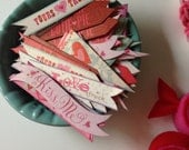 Valentine's Die-Cut Tags/Banners (Set of 5) - Cupcake Tags, Cardstock, Decoration, Gifts, Tags, Scrapbooking