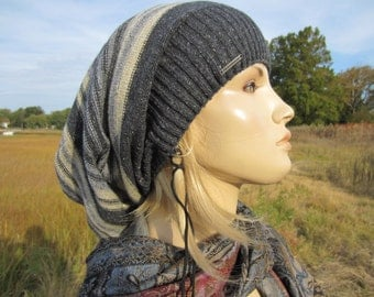 Slouchy Beanie Bohemian Style Clothing Big Tam Cotton Wool Slouch Hat Striped Charcoal Gray Baggy Oversized Extra Long A1575