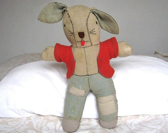 Vintage Rabbit - Homemade Primitive Rabbit - 1950's Bunny Toy - Old Rabbit Toy
