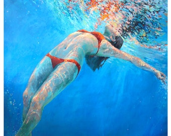 Swimmer Art Print of woman finding bliss in water expressionistic painting of swimmer in beautiful blue water