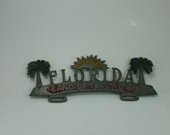 Vintage Florida Car Truck License Plate Holder Metal Decorative Palm Trees Land Of Sunshine Florida Souvenir Classic Car