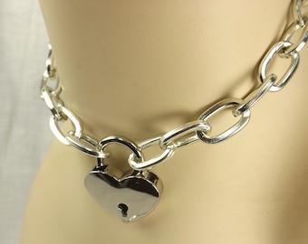 Locking Collar Heart Lock Choker day collar mature slave collar pinchthemuse