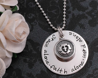 Grace Alone, Faith Alone, Word Alone - hand stamped Necklace