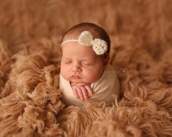 Mohair Headband, Newborn Halo, Baby Headband, Mohair Bow Halo, Baby Tie Back Halo, Crochet Headband, Newborn Photo Prop