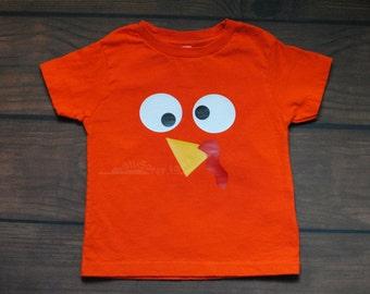 Turkey Shirt Thanksgiving Orange Boys Girls Toddler Gobble Shirt