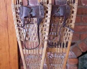 Vintage  Snowshoes - Cabin - Lodge
