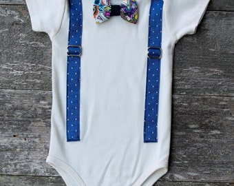 Baby Boy Blue Onesie / Suspender Onesie / Fancy Baby Outfit / Organic Baby Clothing / Clip On Bow Tie/  Suit Up / Gifts for Baby