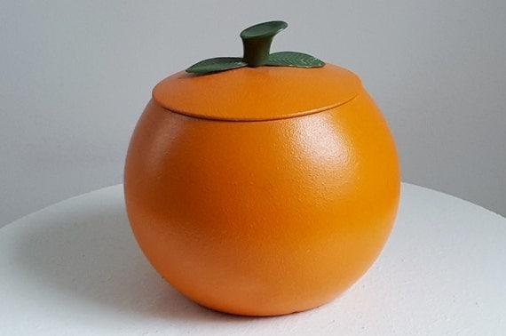Vintage Orange Tin Cookie Jar Orange Shaped Cookie Canister