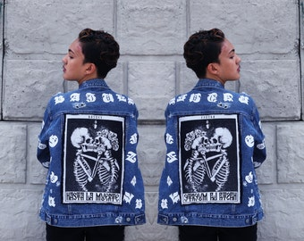 BAJUES Crazy Printed Distress Oversize Style Denim Jacket