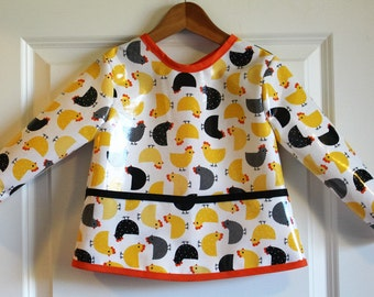 Toddler Baby Waterproof Long Sleeved Bib Art Smock with Chickens