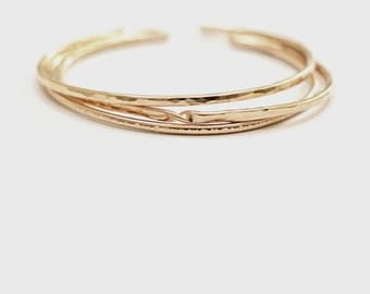 set of 3 gold cuffs / gold filled textured bracelet / 14k gold fill layering stacking boho semi-adjustable cuff