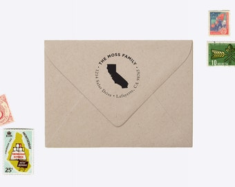 "Custom ""State Icon"" Return Address Rubber Stamp"