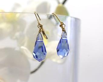 Faceted Cobalt Blue Teardrop Briolette Earrings Dangle drops