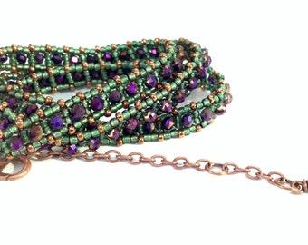 beaded wrap bracelet in green, iris purple and golden bronze