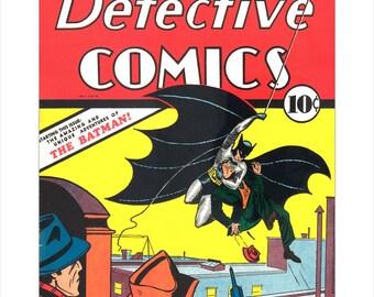 Batman Comic Book Cover art print - Detective Comics #27  - The first appearance of Batman - Superhero poster art - DC Comic book art poster