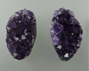 Amethyst Crystal Button Pair Cabochon from 49erMinerals