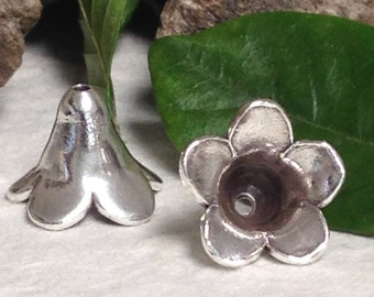 NEW Trumpet Flower Bead Cap or Beading Cone in Shiny Fine Silver - Crafted by Karen Hill Tribe MB215