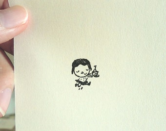 Cute Girl with Cake Stamp